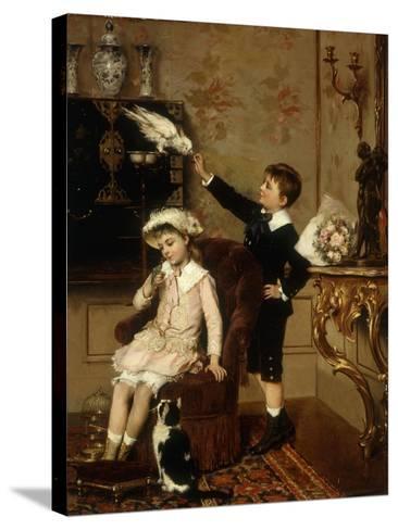 Grandmother's Pets-Albert Roosenboom-Stretched Canvas Print