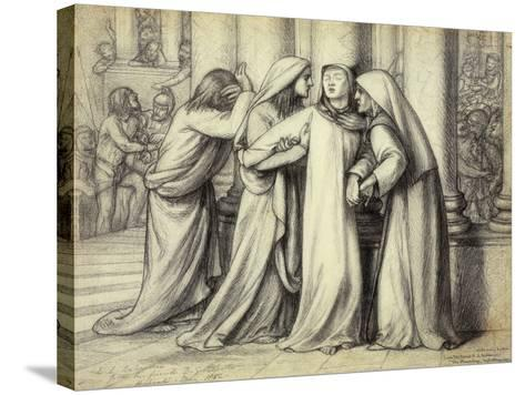 The Virgin Mary being Comforted-Dante Gabriel Rossetti-Stretched Canvas Print