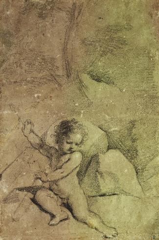 Cupid drawing an Arrow from a Quiver, in a Landscape--Stretched Canvas Print