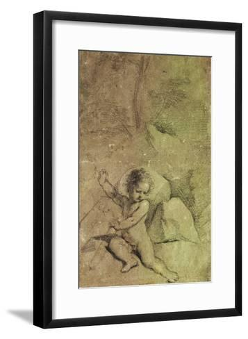 Cupid drawing an Arrow from a Quiver, in a Landscape--Framed Art Print