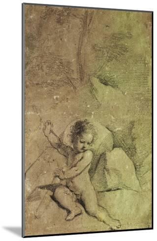 Cupid drawing an Arrow from a Quiver, in a Landscape--Mounted Giclee Print