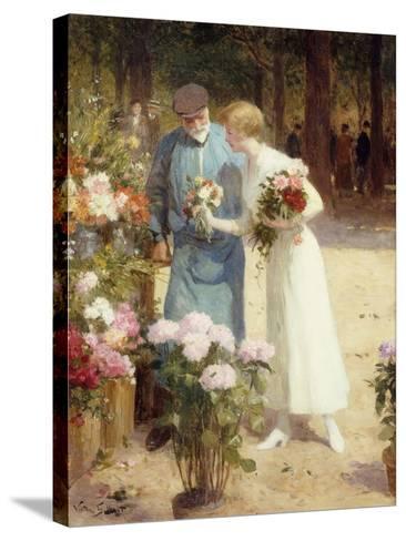 A Flower Market-Victor Gabriel Gilbert-Stretched Canvas Print