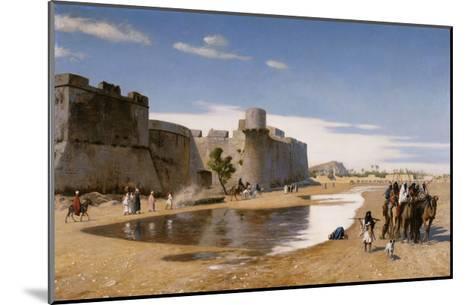 An Arab Caravan outside a Fortified Town-Jean Leon Gerome-Mounted Giclee Print