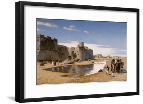 An Arab Caravan outside a Fortified Town-Jean Leon Gerome-Framed Art Print