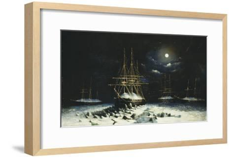 H.M.S Resolute, Assistance, Intrepid and Pioneer wintering in the Arctic, 1850-51--Framed Art Print