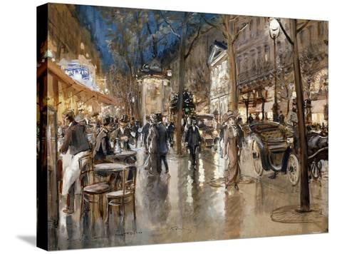 Evening on a Parisian Boulevard-Stein Georges-Stretched Canvas Print