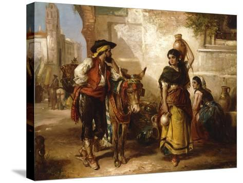 A Chat at the Fountain, Seville-Thomas Kent Pelham-Stretched Canvas Print