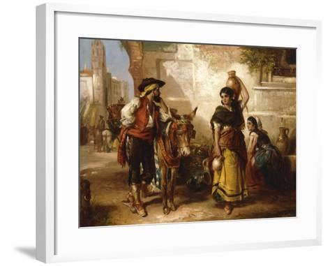 A Chat at the Fountain, Seville-Thomas Kent Pelham-Framed Art Print