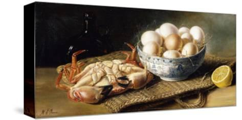 A Crab and a Bowl of Eggs on a Basket, with a Bottle and Half a Lemon-Mary A.		 Powis-Stretched Canvas Print