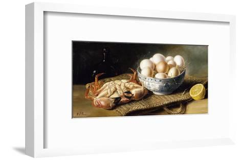 A Crab and a Bowl of Eggs on a Basket, with a Bottle and Half a Lemon-Mary A.		 Powis-Framed Art Print