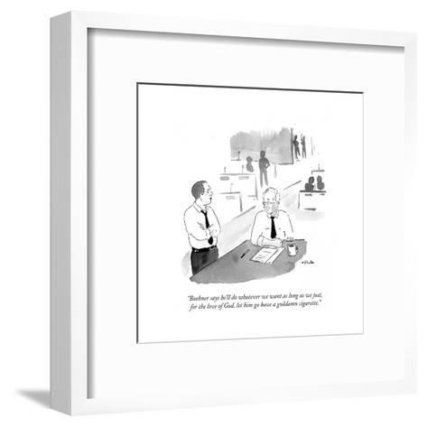 """""""Boehner says he'll do whatever we want as long as we just, for the love ?"""" - Cartoon-Emily Flake-Framed Art Print"""