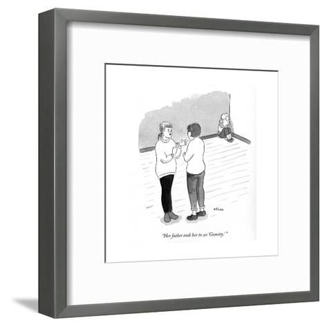"""""""Her father took her to see Gravity."""" - Cartoon-Emily Flake-Framed Art Print"""