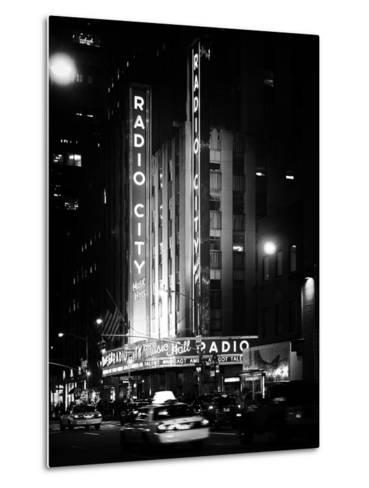 Radio City Music Hall and Yellow Cab by Night, Manhattan, Times Square, NYC, Old Classic-Philippe Hugonnard-Metal Print