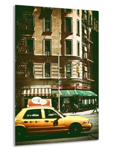 Urban Scene with Yellow Cab on the Upper West Side of Manhattan, NYC, Vintage Colors Photography-Philippe Hugonnard-Metal Print