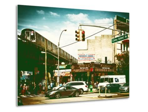Urban Scene, Coney Island Av and Subway Station, Brooklyn, Ny, US, USA, Vintage Color Photography-Philippe Hugonnard-Metal Print