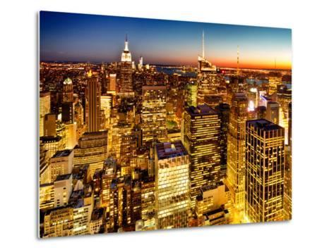 Skyscrapers View, Cityscape by Night, Manhattan, New York City, United States, Color Sunset-Philippe Hugonnard-Metal Print