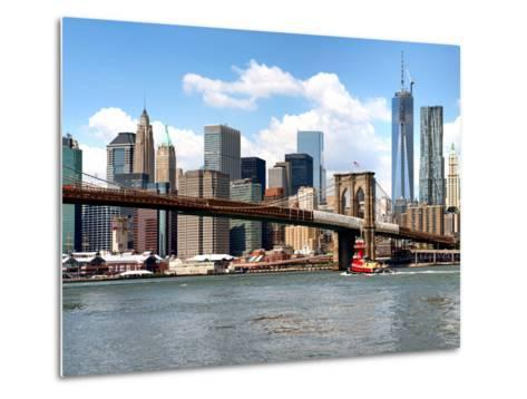 Skyline of NYC with One World Trade Center and East River, Manhattan and Brooklyn Bridge, US-Philippe Hugonnard-Metal Print