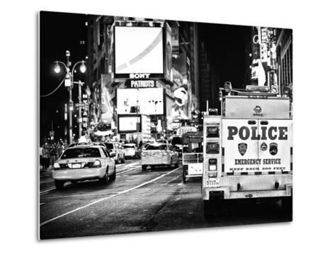 Yellow Cabs and Police Truck at Times Square by Night, Manhattan, New York-Philippe Hugonnard-Metal Print