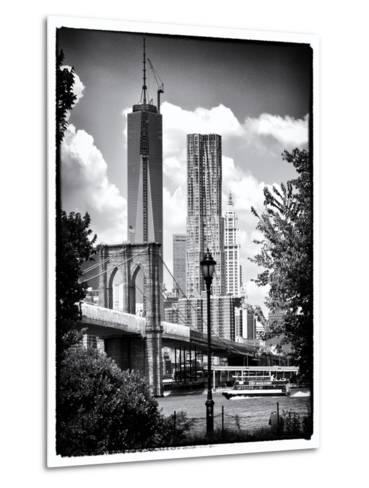 Brooklyn Bridge View with One World Trade Center, Black and White Photography, Manhattan, NYC, US-Philippe Hugonnard-Metal Print