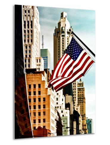 Architecture and Buildings, Skyscrapers View, American Flag, Midtown Manhattan, NYC, US, USA-Philippe Hugonnard-Metal Print