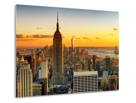 Sunset Skyscraper Landscape, Empire State Building and One World Trade Center, Manhattan, New York-Philippe Hugonnard-Metal Print
