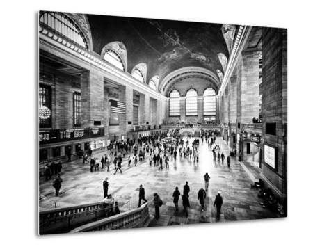 Lifestyle Instant, Grand Central Terminal, Black and White Photography Vintage, Manhattan, NYC, US-Philippe Hugonnard-Metal Print