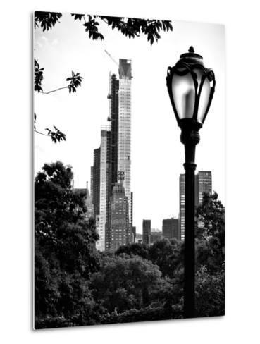 Floor Lamp in Central Park Overlooking Buildings (Essex House), Manhattan, New York-Philippe Hugonnard-Metal Print