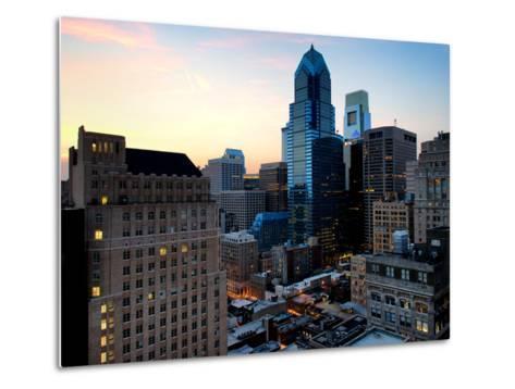 Philly Skyscrapers at Nightfall, Philadelphia, Pennsylvania, United States-Philippe Hugonnard-Metal Print