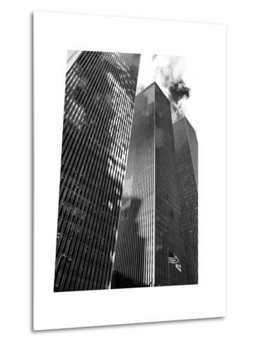 Symetric Perspective Skyscraper in Manhattan, NYC, White Frame, Full Size Photography-Philippe Hugonnard-Metal Print
