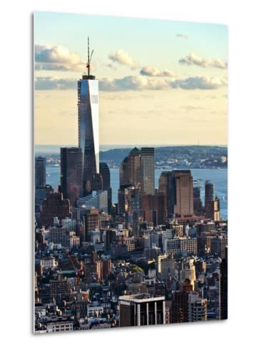 Landscape Sunset View, One World Trade Center, Manhattan, New York, United States-Philippe Hugonnard-Metal Print