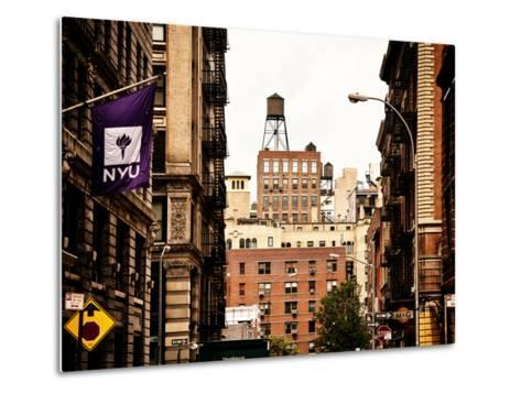 Architecture and Buildings, Greenwich Village, Nyu Flag, Manhattan, New York City, US, Vintage-Philippe Hugonnard-Metal Print