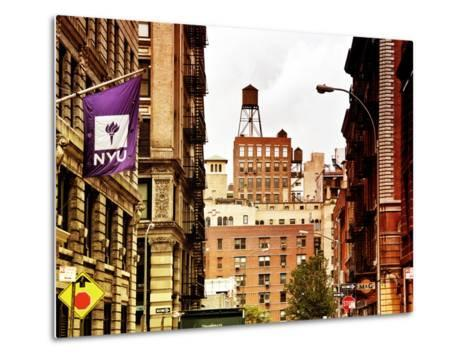 Architecture and Buildings, Greenwich Village, Nyu Flag, Manhattan, New York City, US, Art Colors-Philippe Hugonnard-Metal Print