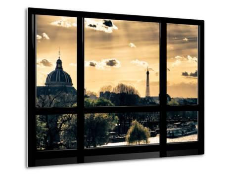 Window View, Special Series, the Eiffel Tower and Seine River View at Sunset, Paris, Europe-Philippe Hugonnard-Metal Print