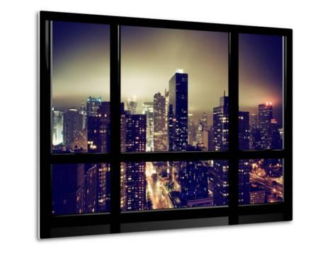 Window View, Misty View, Times Square and the New Yorker Hotel Views, Manhattan, New York-Philippe Hugonnard-Metal Print