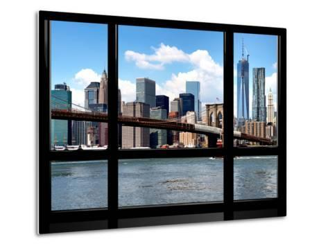 Window View, Manhattan with One World Trade Center (1WTC) and the Brooklyn Bridge, New York-Philippe Hugonnard-Metal Print
