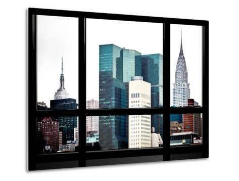 Window View, Special Series, Empire State Building and Chrysler Building Tops, Manhattan, New York-Philippe Hugonnard-Metal Print