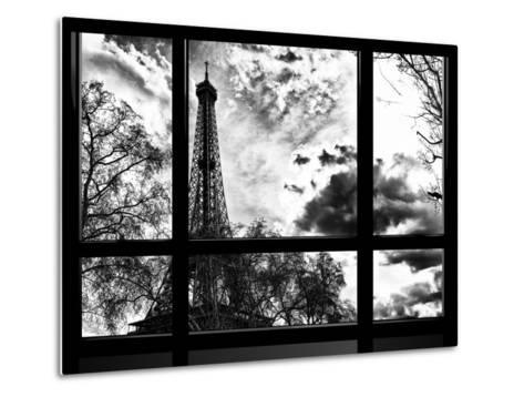 Window View, Special Series, Eiffel Tower View, Paris, France, Europe, Black and White Photography-Philippe Hugonnard-Metal Print