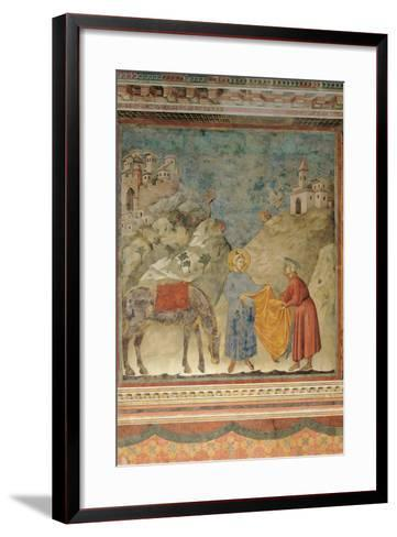 The Gift of the Mantle-Giotto di Bondone-Framed Art Print