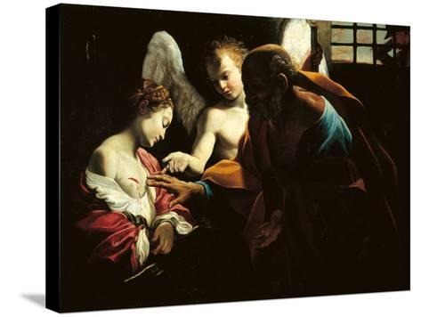 St Peter Healing St Agatha-Giovanni Lanfranco-Stretched Canvas Print