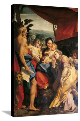Madonna with St Jerome (the Day)-Correggio-Stretched Canvas Print
