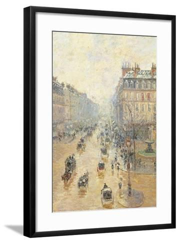 Avenue De LOpra. Snow Effect. Morning-Camille Pissarro-Framed Art Print
