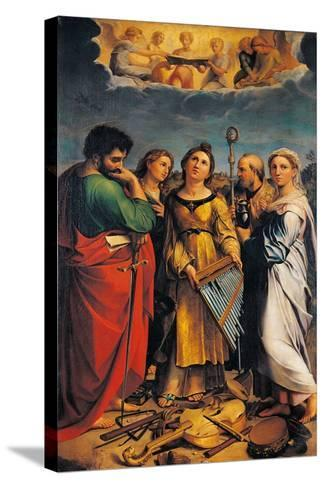 St Cecilia with Sts Paul- John the Evangelist-Stretched Canvas Print