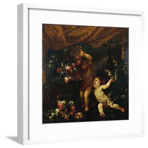 Still Life with Putti and Flowers-Margherita Caffi detta Vicenzina-Framed Art Print
