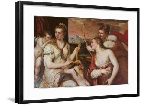 The Punishment of Cupid (Venus Blindfolding Cupid)-Titian (Tiziano Vecelli)-Framed Art Print