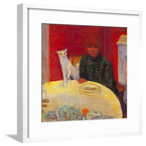 Woman with a Cat-Pierre Bonnard-Framed Art Print