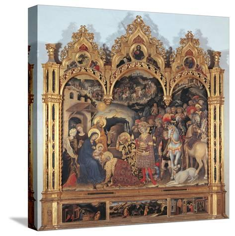 Altarpiece with the Adoration of the Magi-Gentile di Niccol (Fabriano)-Stretched Canvas Print