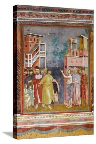 Stories of St Francis St. Francis Renounces His Fathers Goods and Earthly Wealth-Giotto di Bondone-Stretched Canvas Print