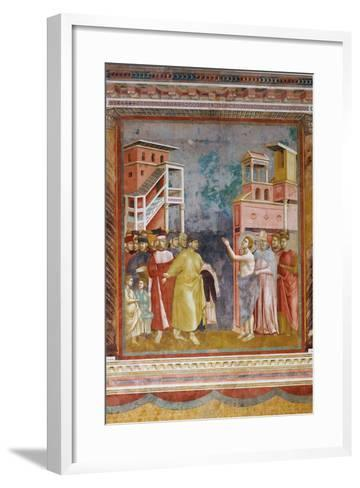 Stories of St Francis St. Francis Renounces His Fathers Goods and Earthly Wealth-Giotto di Bondone-Framed Art Print