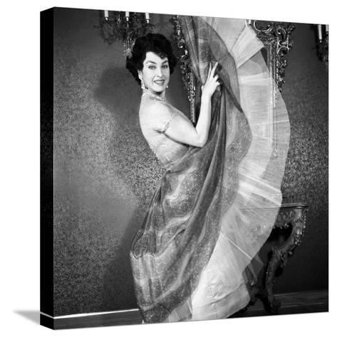 Silvana Pampanini Showing Her Dress--Stretched Canvas Print
