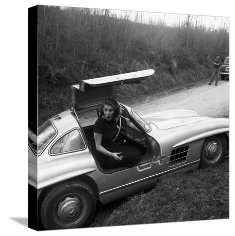 Sophia Loren Sitting Into Her Mercedes at Third Cinema Rally--Stretched Canvas Print